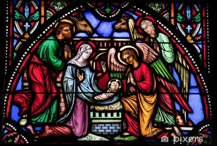 Pixerstick-klistremerke Nativity Scene - Stained glass vindu - Holy Family