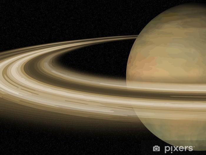 Papier peint vinyle Système solaire: Saturne sur fond noir cosmos - Planètes
