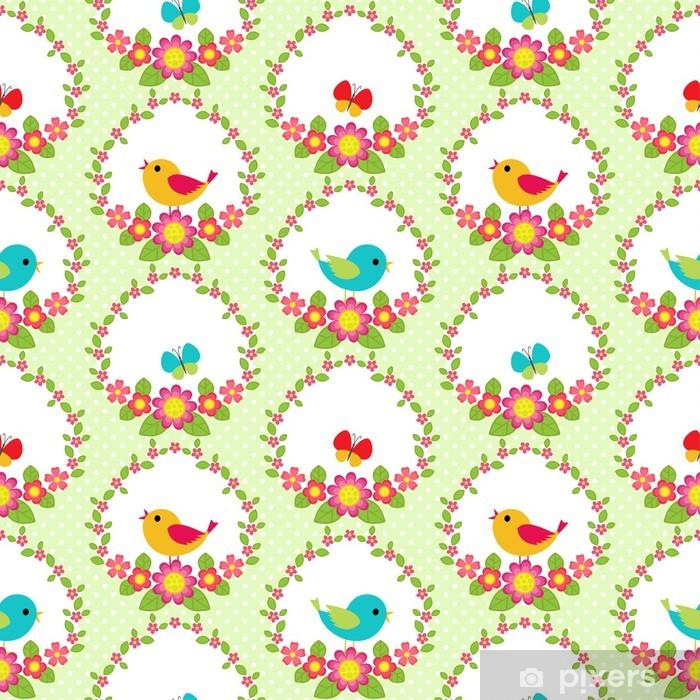 Poster Vögel und Blumen - Für Kindergartenkind