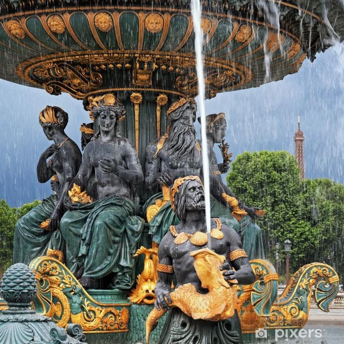 Sticker Pixerstick Fontaine à Paris. (Tour Eiffel en arrière-plan) - Villes européennes