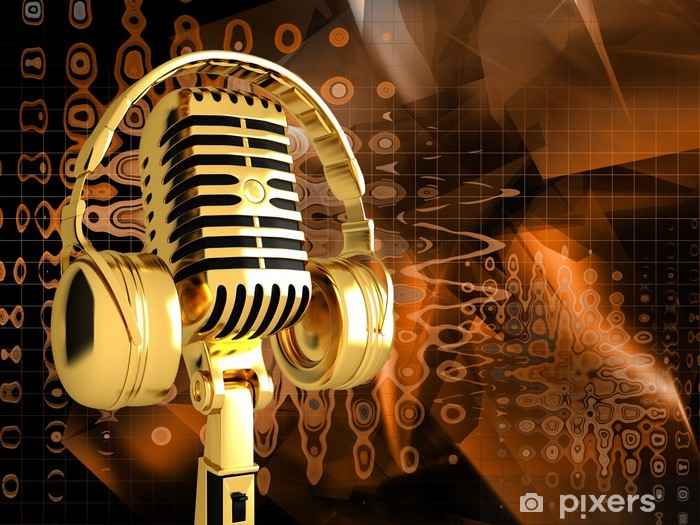 Papier peint vinyle Microphone sur fond musical abstrait - Musique