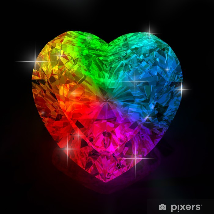 Rainbow Heart Shape Diamond Wall Mural Pixers 174 We Live