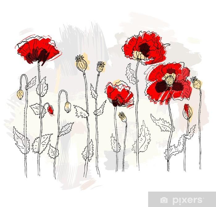 Plakat Czerwone maki na białym tle - Kwiaty