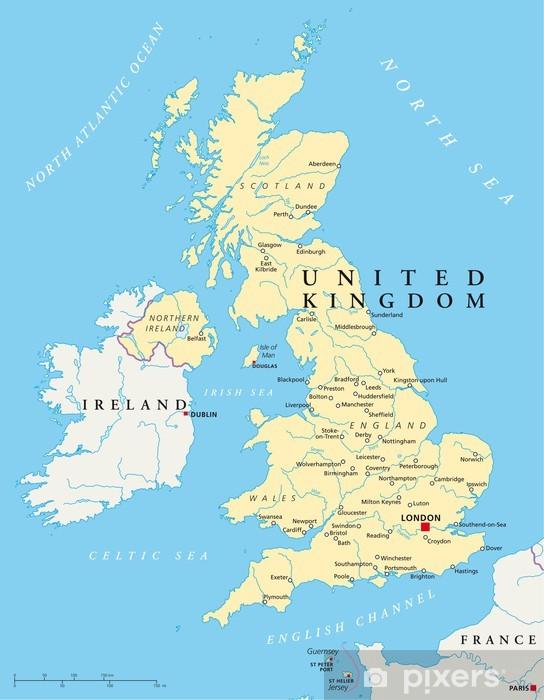 Papier peint vinyle Royaume-Uni, la carte (Vereinigtes Königreich, Karte) - Thèmes