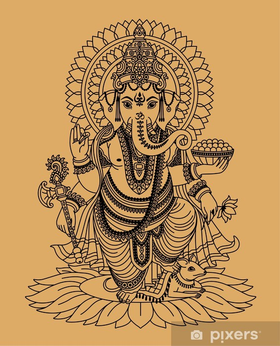 Indian god Ganesha Vinyl Wall Mural - Styles