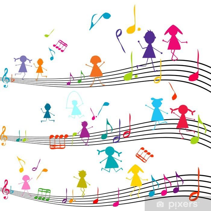 Papier peint vinyle Note de musique avec des enfants jouant avec les notes de musique - Musique