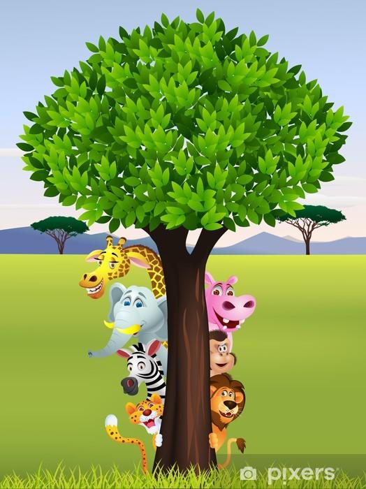 Papier peint vinyle Drôle de safari animal cartoon - Pour enfant 5 ans