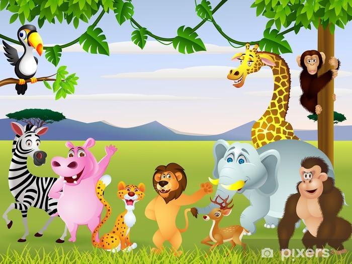 Fotomural Estándar Divertido safari animal cartoon - Para niña