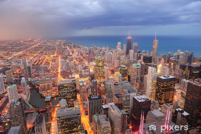 Papier peint vinyle Vue aérienne de Chicago au crépuscule - Thèmes