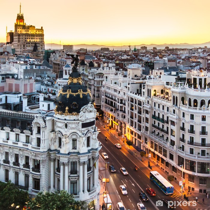 Panoramic view of Gran Via, Madrid, Spain. Vinyl Wall Mural - Themes