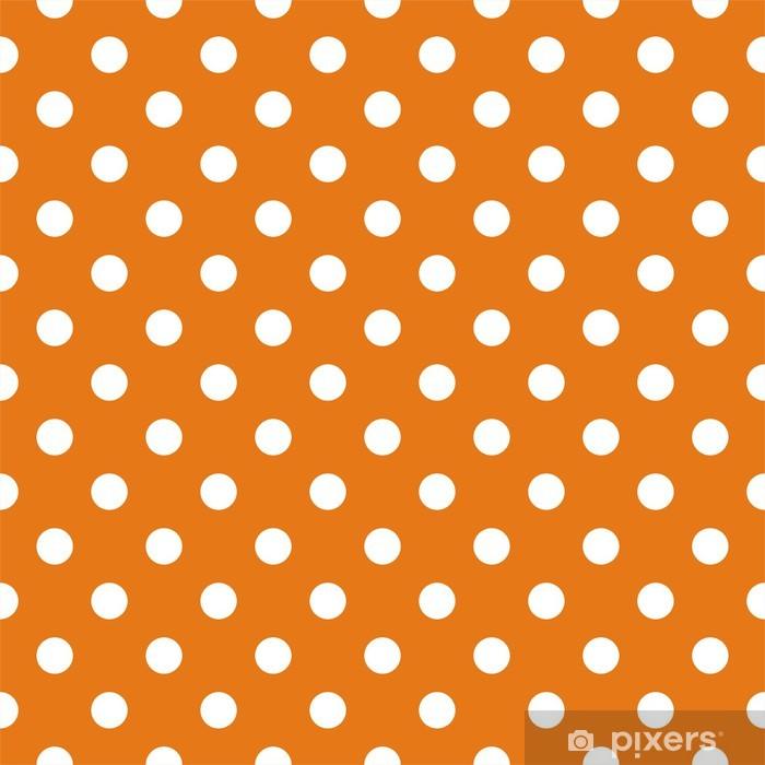 Carta Da Parati Seamless Pattern Con Pois Bianchi Sfondo Arancione