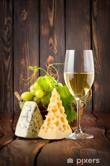 Wineglass and cheese Vinyl Wall Mural - Meals