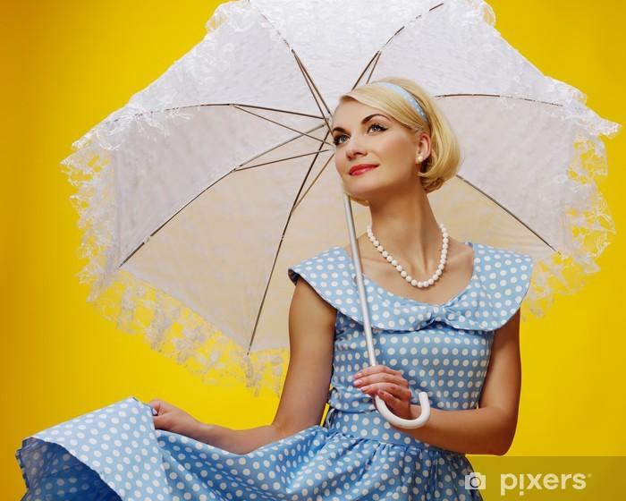 7f74e4be198 Sticker Femme en robe bleue avec un parasol • Pixers® - Nous vivons ...