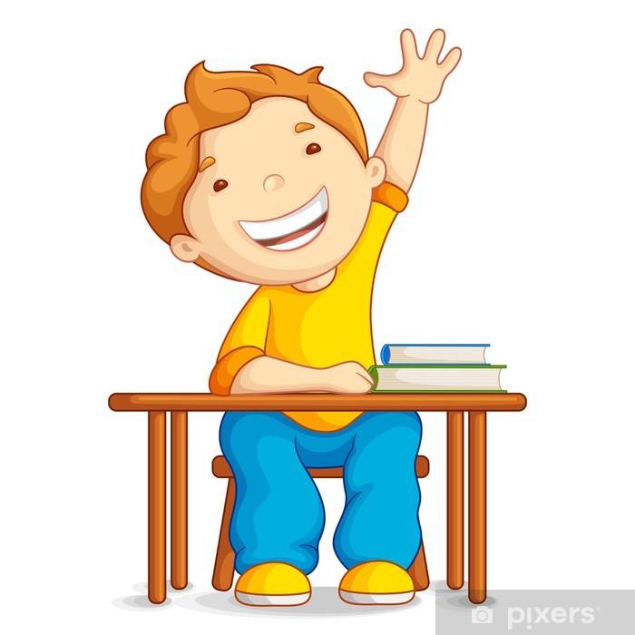 Masaya Oturan Okul çocuk Vektör çizim Duvar Resmi Pixers Haydi