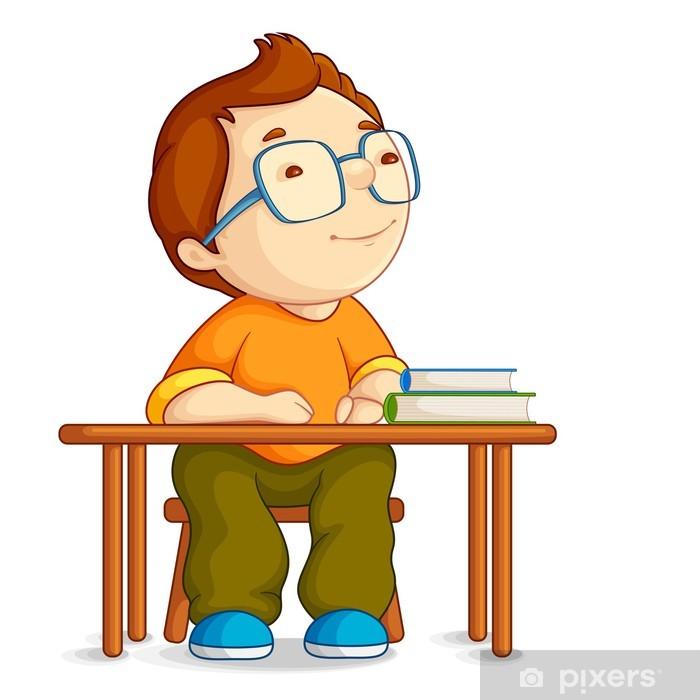 Masada Oturan Karıştı Okul çocuk Vektör çizim Duvar Resmi Pixers