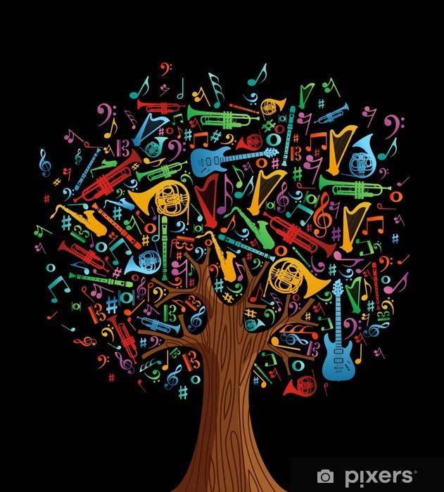 Vinyl Fotobehang Abstracte muzikale boom gemaakt met instrumenten - Bomen