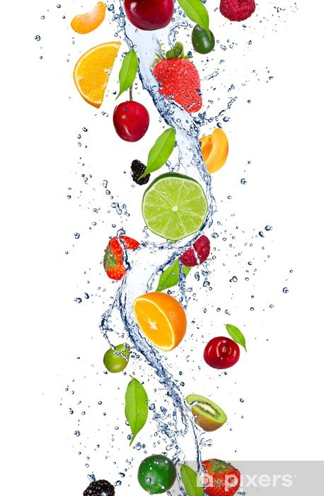 Fresh Fruits Falling In Water Splash Wall Mural Pixers