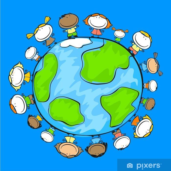 Børns tegning af glade mennesker på Jorden Fototapet • Pixers® - Vi lever for forandringer