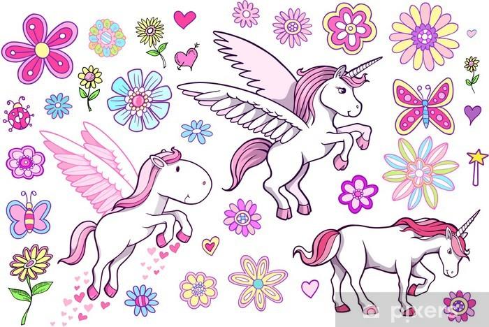 Sticker Pixerstick Unicorn Pegasus Fairytale printemps Vector Set - Thèmes