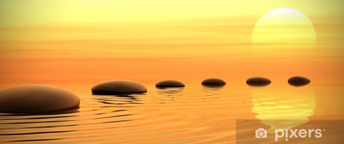 Fotomural Estándar Camino zen de piedras en la puesta del sol en pantalla panorámica - Estilos