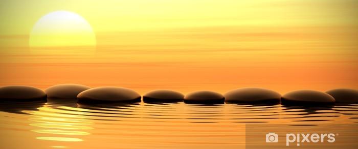 Vinyl Fotobehang Zen stenen in het water op zonsondergang -