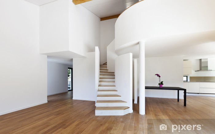 Fotobehang interieur modern huis een grote open ruimte trap