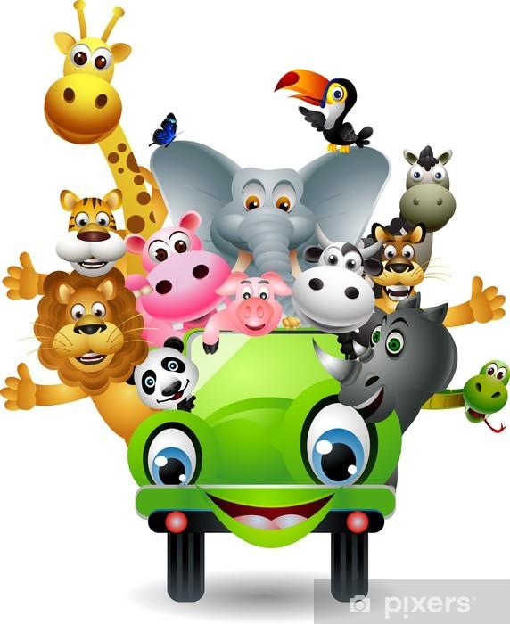 Fototapeta winylowa Funny cartoon zwierząt określone w zielonym samochodzie - Naklejki na ścianę