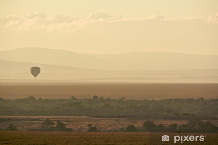 Hot air balloon over Masai Mara Vinyl Wall Mural - Nature and Wilderness