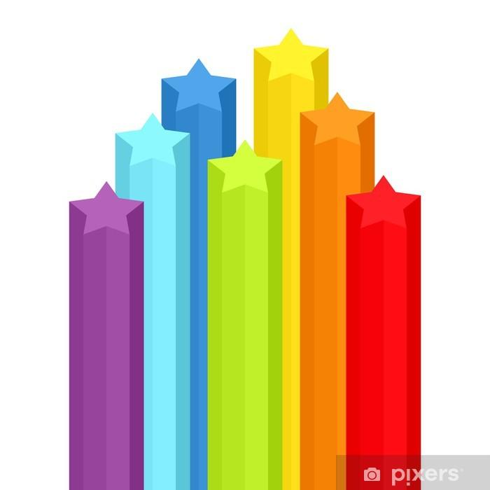 Background with rainbow stars. Vector illustration. Pixerstick Sticker - Backgrounds