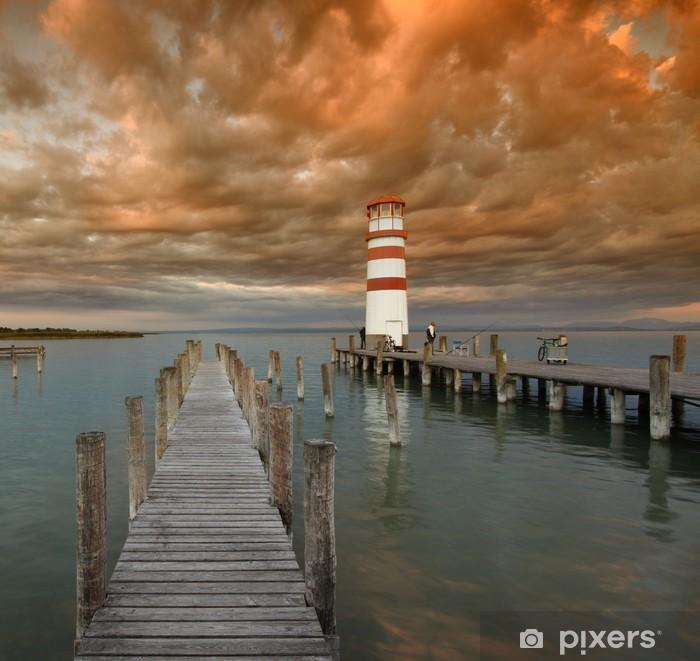 Sticker Pixerstick Leuchtturm-Abendstimmung - Eau