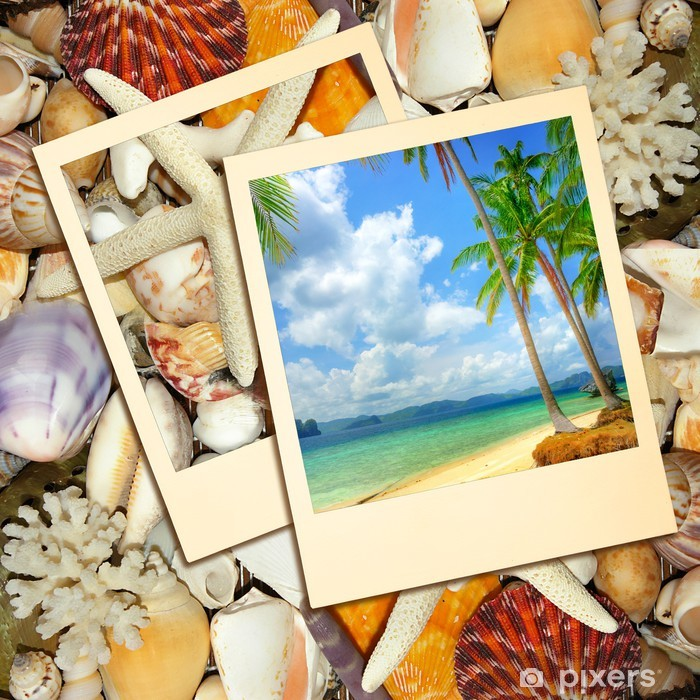 Nálepka Pixerstick Tropické vzpomínky - léto pozadí - Prázdniny
