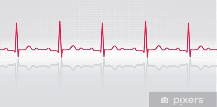 Sinus rhythm  ECG with grid, reflection  Vector illustration  Wall Mural -  Vinyl