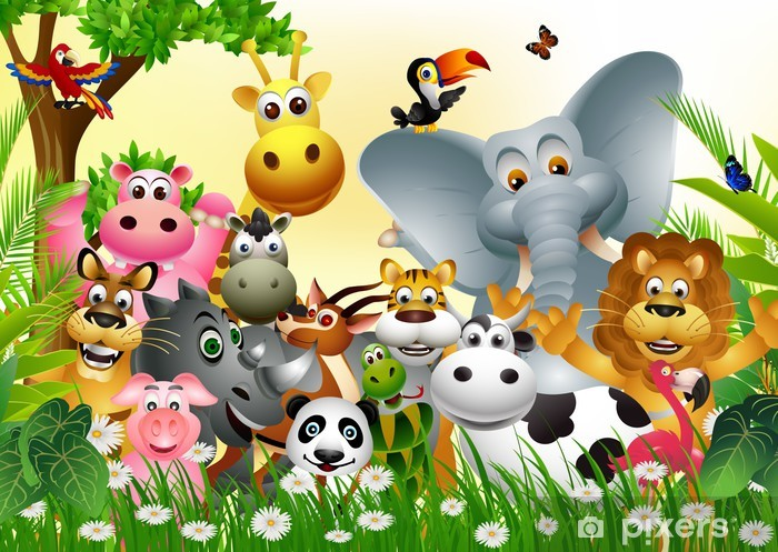 Papier peint vinyle Grand jeu drôle de bande dessinée animale avec le fond de la forêt tropicale - Pour enfant de 5 ans