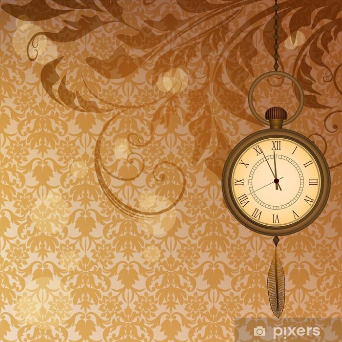 Fototapeta winylowa Streszczenie tapety z brązowymi kwiatowymi oddziałów i zegarek kieszonkowy - Style