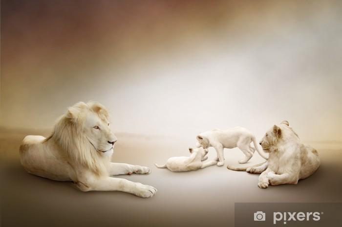 Fototapeta winylowa Biały lew rodzina - Style