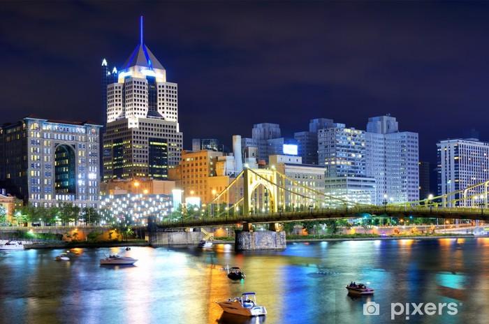 Papier peint vinyle Pittsburgh Skyline long de la rivière Allegheny - Amérique