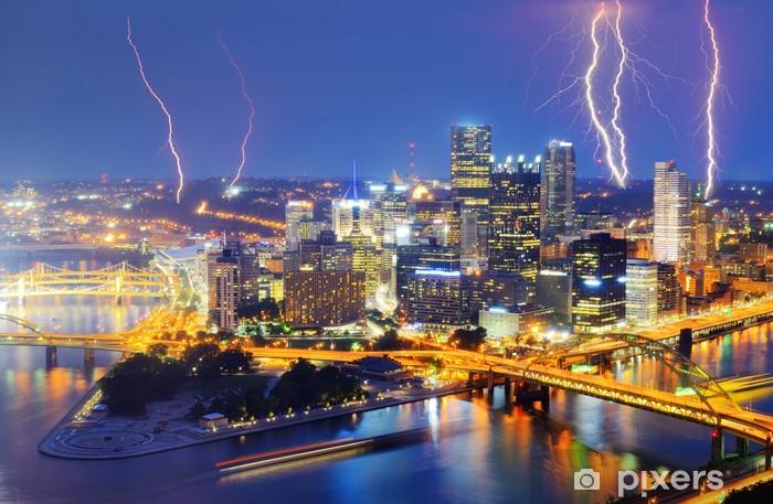 Papier peint vinyle Foudre au centre-ville de Pittsburgh - Amérique