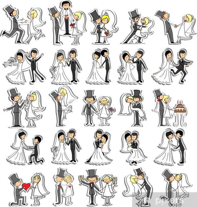 Naklejka Pixerstick Zestaw zdjęć ślubnych, panna młoda i pan młody w miłości, wektor - Świętowanie