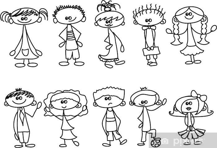 Sticker Pixerstick Cute enfants heureux - Enfants