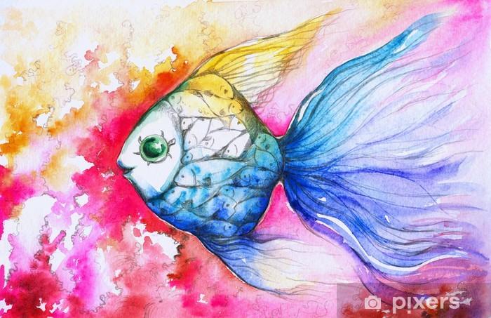 Papier peint vinyle Aquarelle de poissons colorés peints. - Animaux marins