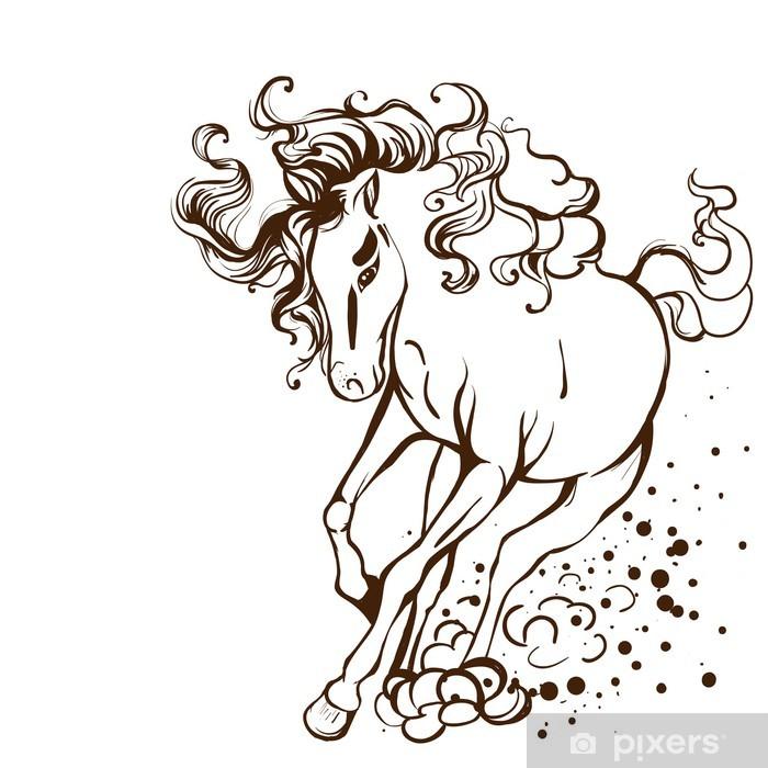 Nálepka Pixerstick Běžící kůň - vektorové ilustrace tetování - Nálepka na stěny