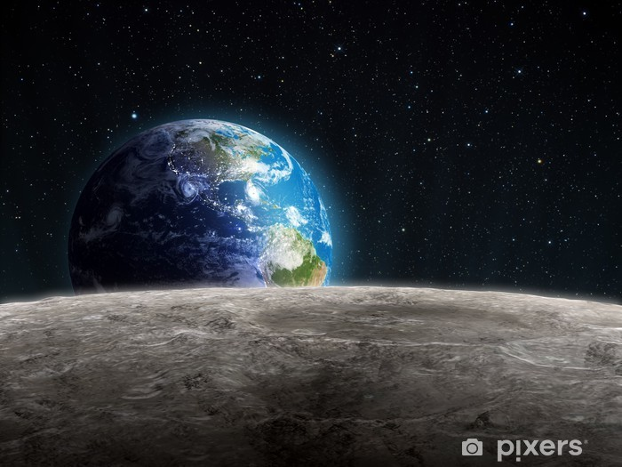 Rising Earth seen from the Moon Pixerstick Sticker - Universe