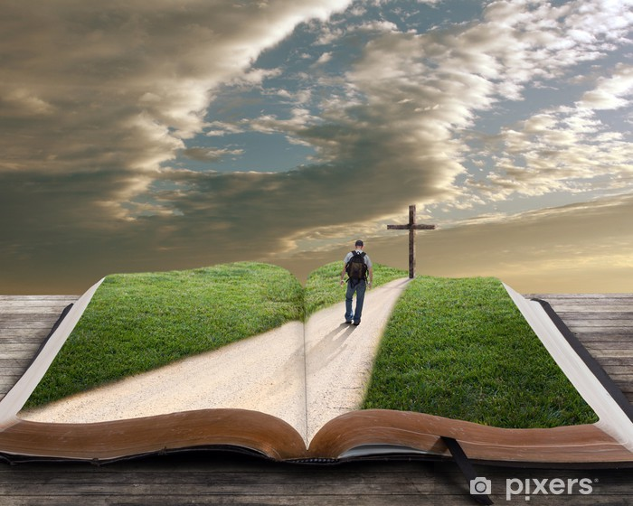 Papier peint vinyle Ouvrez la Bible avec l'homme et la croix - Monuments