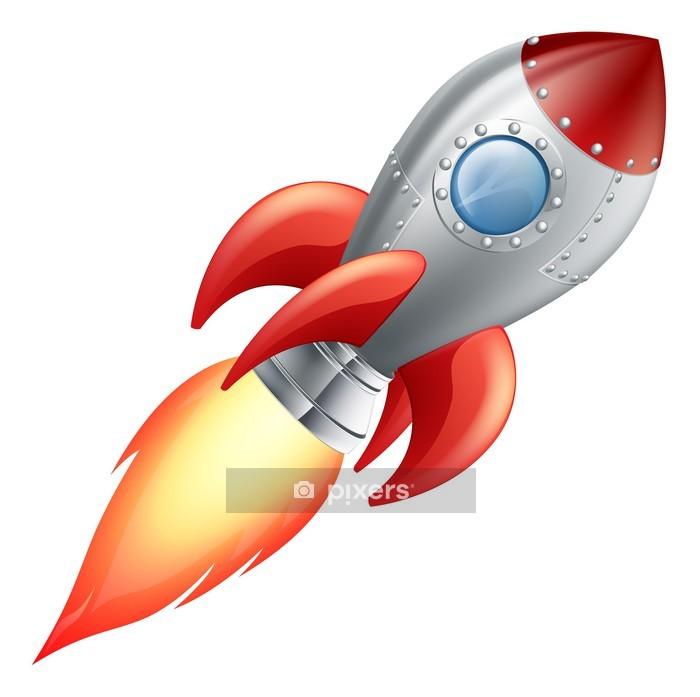 Naklejka na ścianę Rakieta statek kosmiczny kreskówki - Transport powietrzny