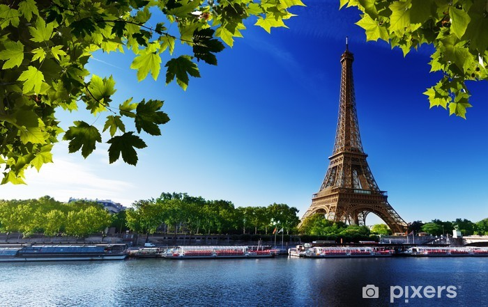 Fotomural Estándar Sena en París con la torre Eiffel - Temas