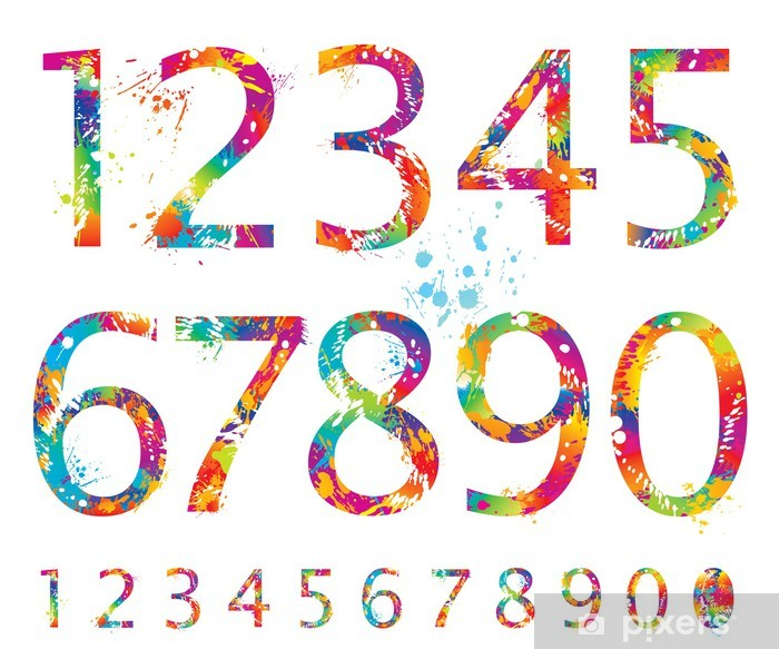 Font - Colorful numbers with drops and splashes from 0 to 9 Pixerstick Sticker - Signs and Symbols