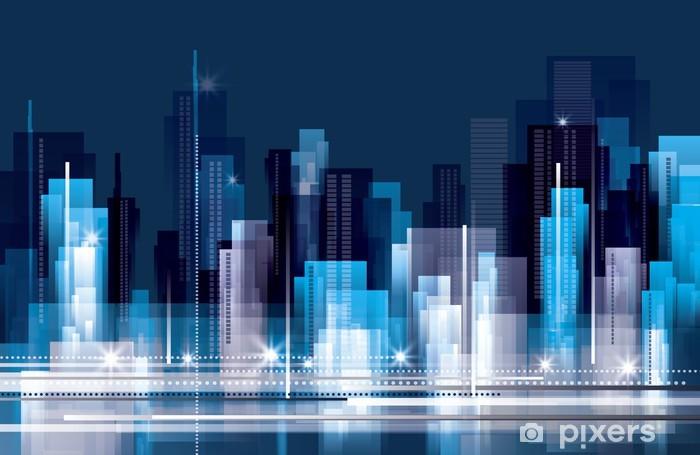 City Landscape at Night Vinyl Wall Mural - Urban