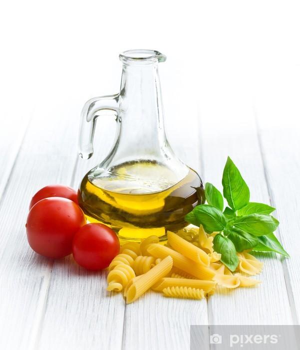 Carta da Parati in Vinile Pasta italiana con basilico, pomodoro e olio d'oliva - Temi