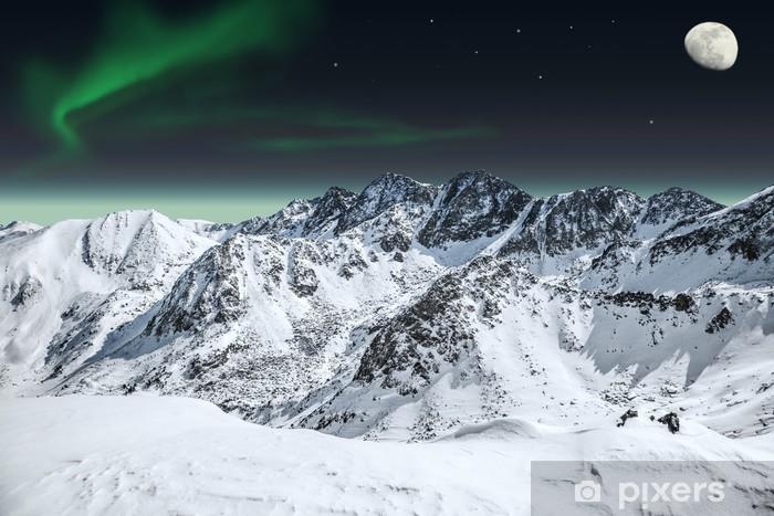 Aurora and moon in mountains Pixerstick Sticker - Destinations