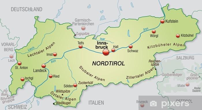 Umgebungskarte Von Tirol Mit Hauptstadten Wall Mural Pixers